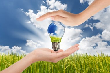 Hands saving , Global Concept of Green Energy Solutions With Lig
