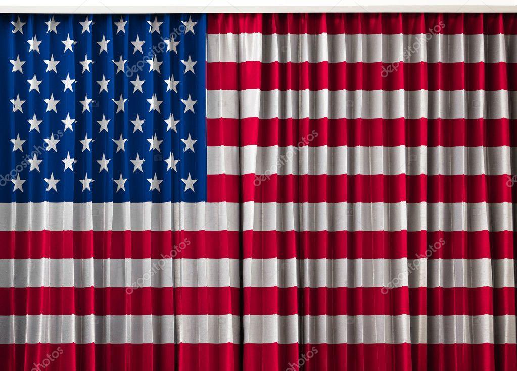 USA, drapeau Amérique sur Rideau — Photographie FrameAngel © #10797815