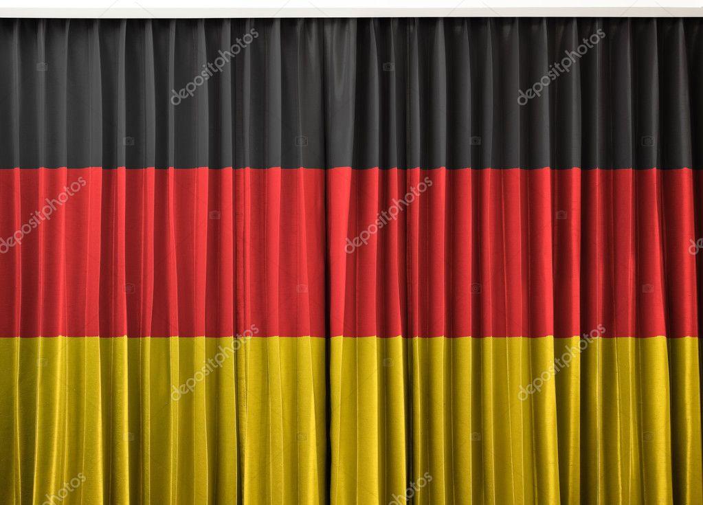 Duitsland vlag op gordijn — Stockfoto © FrameAngel #11234232