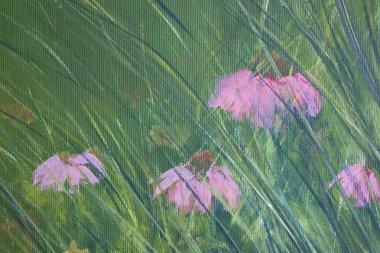 Canvas painting closeup