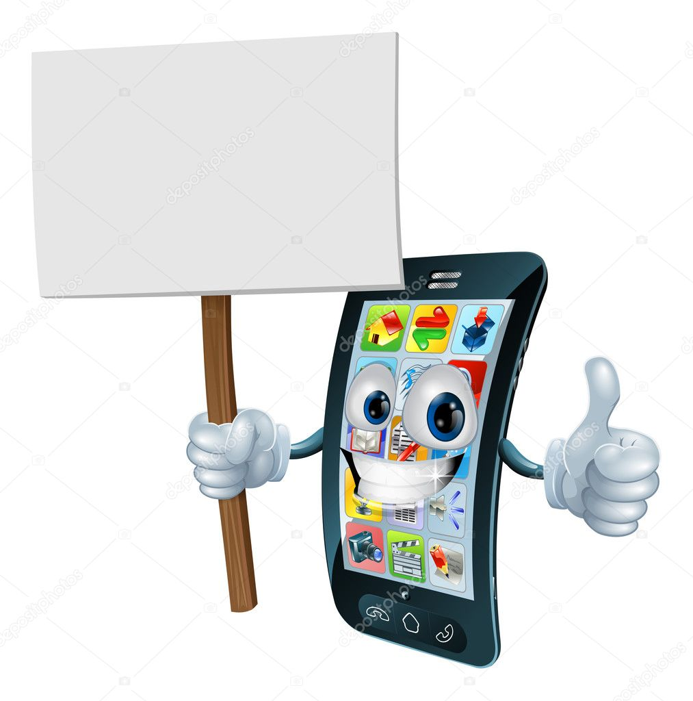 Announcement board sign mobile phone man