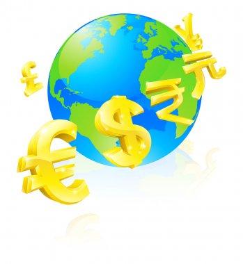 Currencies signs globe concept
