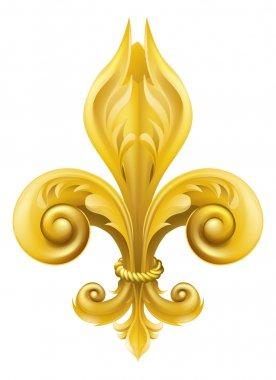 Illustration of a gold fleur-de-lis graphic design element clip art vector