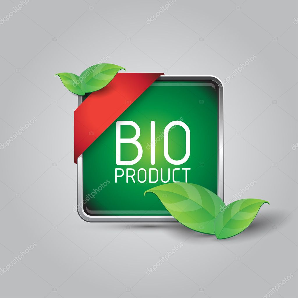 Green Bio product square button with corner ribbon and leaves