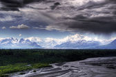 Denali with storm clouds