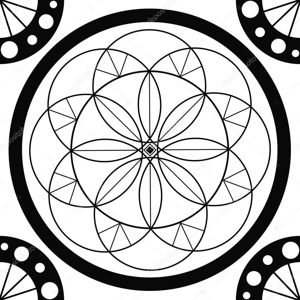 dibujo geométrico mandala - círculo sagrado — Fotos de Stock ...