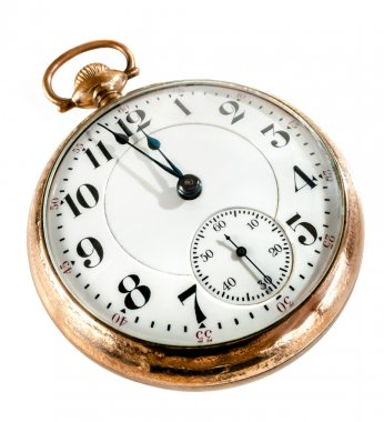 Antique golden pocket watch showing a few minutes to midnight isolated on white background. Concept of time,the past or deadline. stock vector