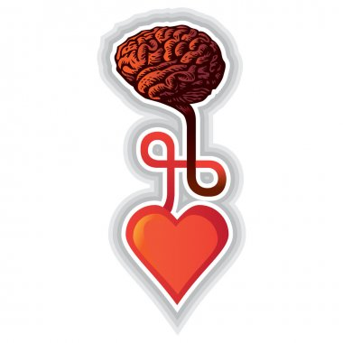 Connection between heart and brain - illustration clip art vector