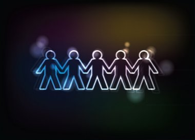 Human figures in a row - illustration clip art vector