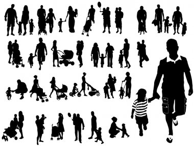 Family silhouettes stock vector