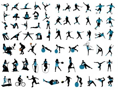 Sports silhouettes stock vector