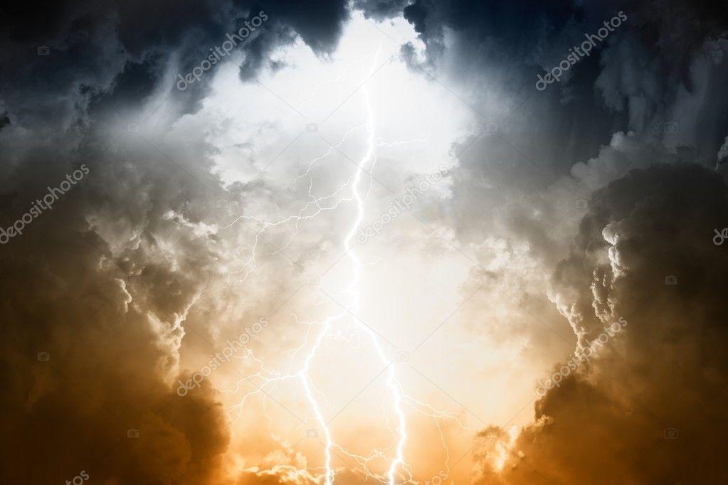 Stormy sky with lightning