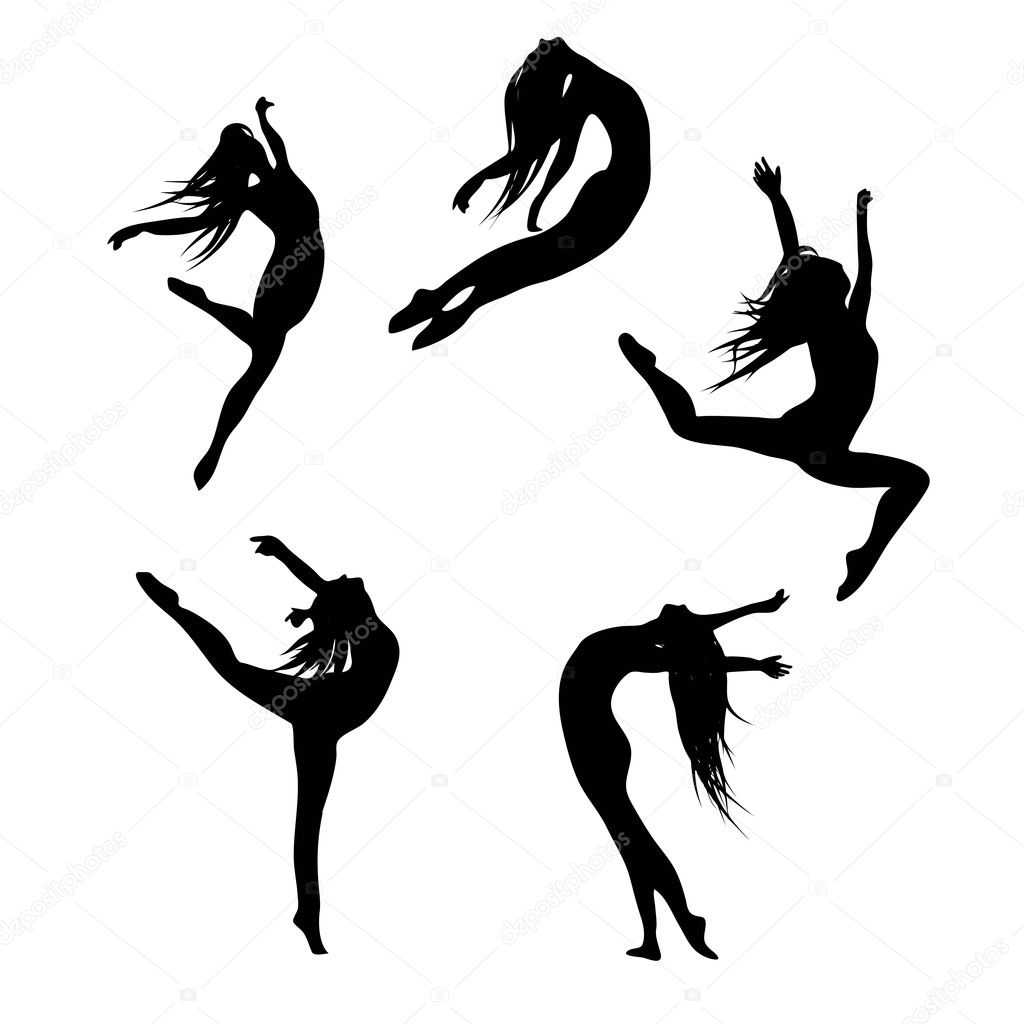 Five black silhouettes dancing(jumping) woman
