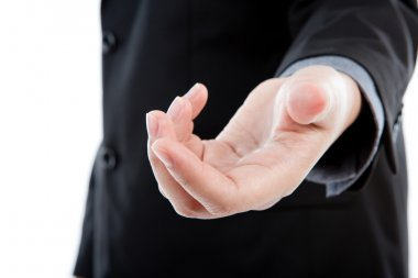 Open hand of business man