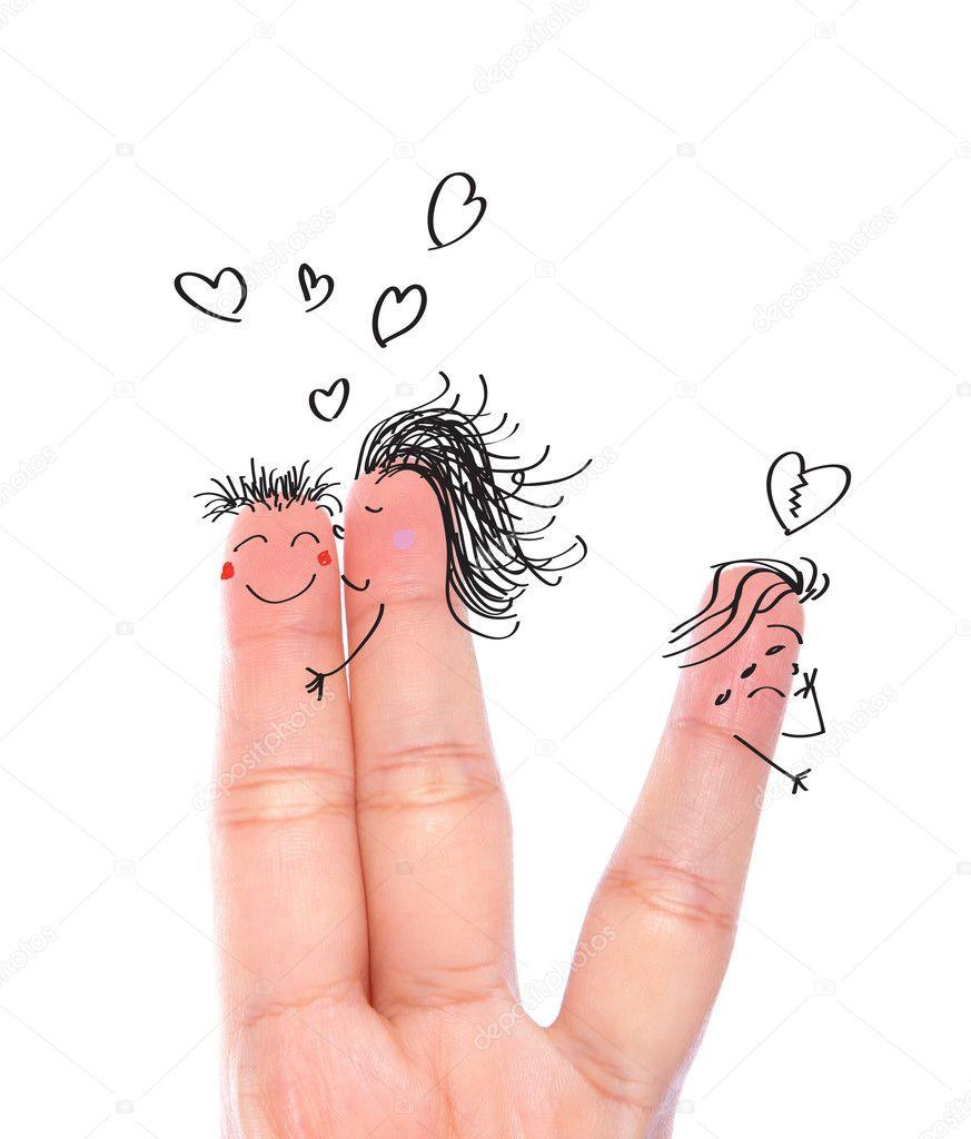 Broken heart concept painted on human fingers ( one women kiss