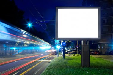 Billboard in the city street, blank screen, clipping path included stock vector