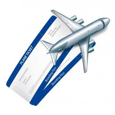 Two plane tickets and plane icon