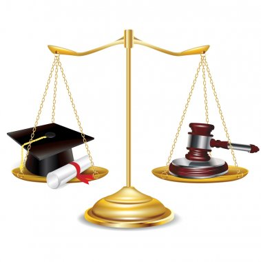 Golden scales with gavel and graduation cap