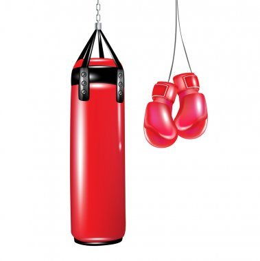 Punching bag and boxing gloves