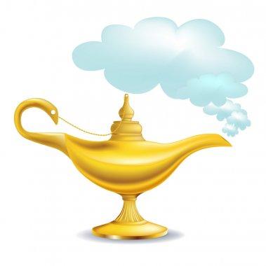 Golden magic lamp with cloud