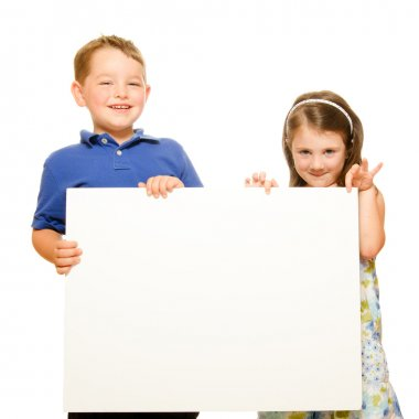 Portrait of children holding blank sign with room for text isolated on white