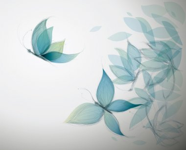 Surreal sketch of Blue Flowers like Butterflies stock vector
