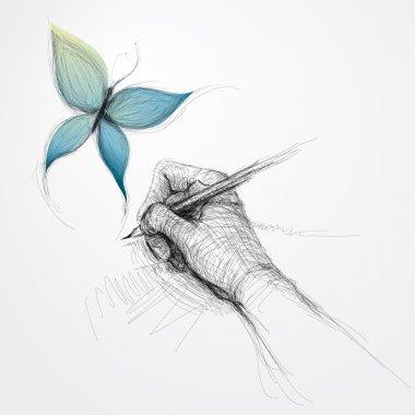 Hand drawing butterfly