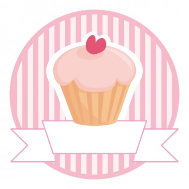Cupcake in pink with white place for your text vector illustration