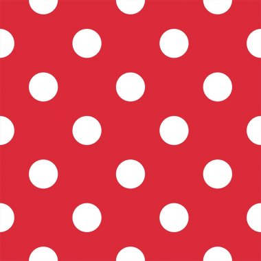 Big polka dots on red background retro seamless vector pattern