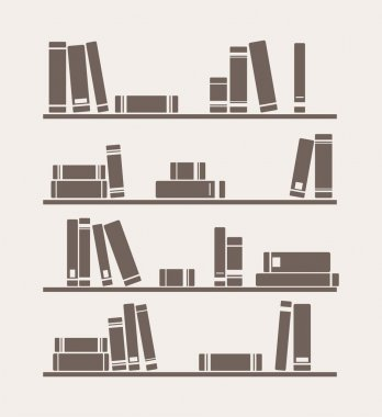 Vector simply retro illustration with books library on the shelves