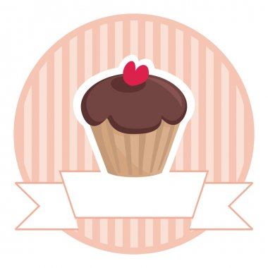 Muffin chocolate cake vector button or logo with place for text