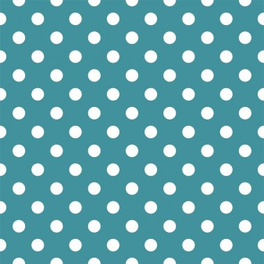 Vector seamless pattern with white polka dots on ocean blue background