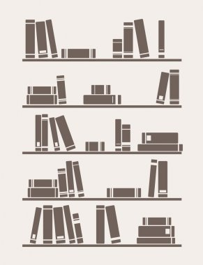Vector vintage illustration with library books on the shelves