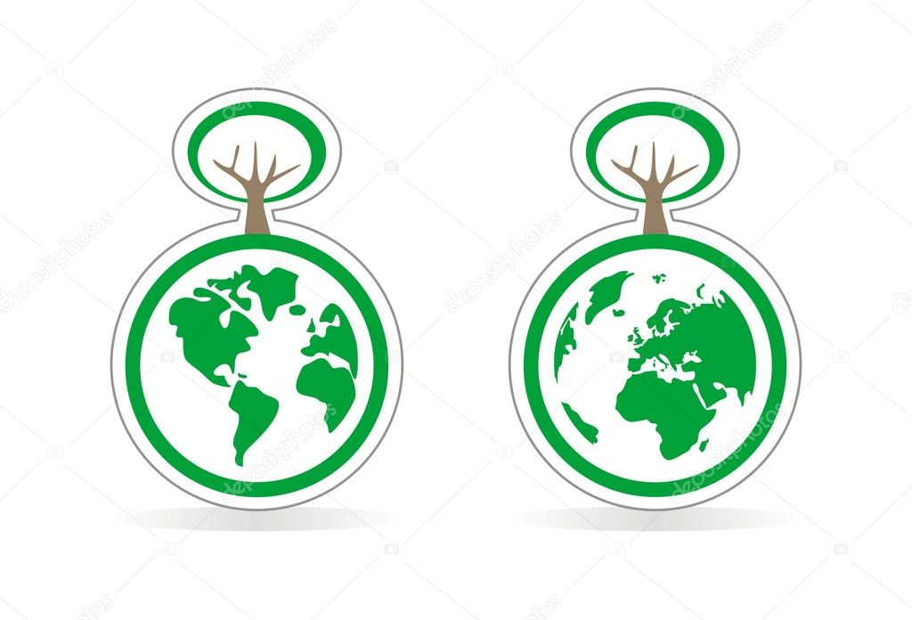 Vector ecology icons with planet earth both globes