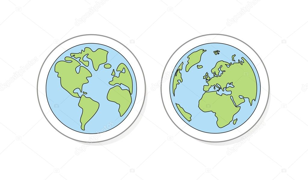 Planet Earth buttons, icon, sticker or logo vector illustration