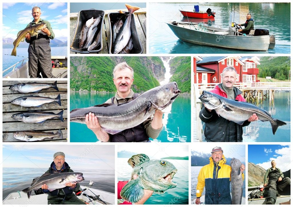 Collage of Fisherman holding a big fresh fish