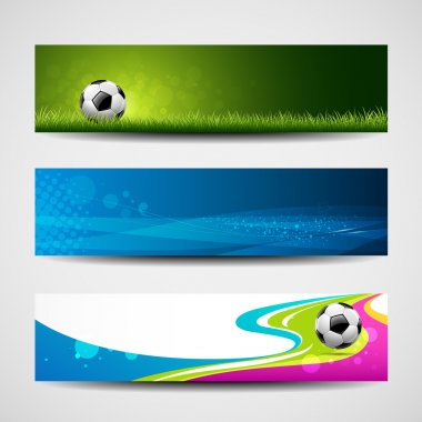 Banner headers soccer ball set design background