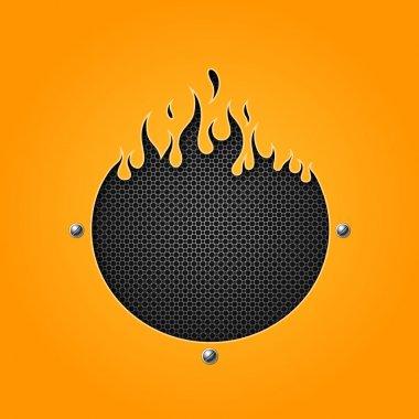Flame speakers orange background
