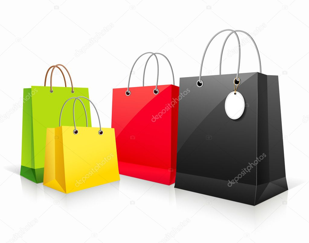 Shopping collection colorful paper bag empty