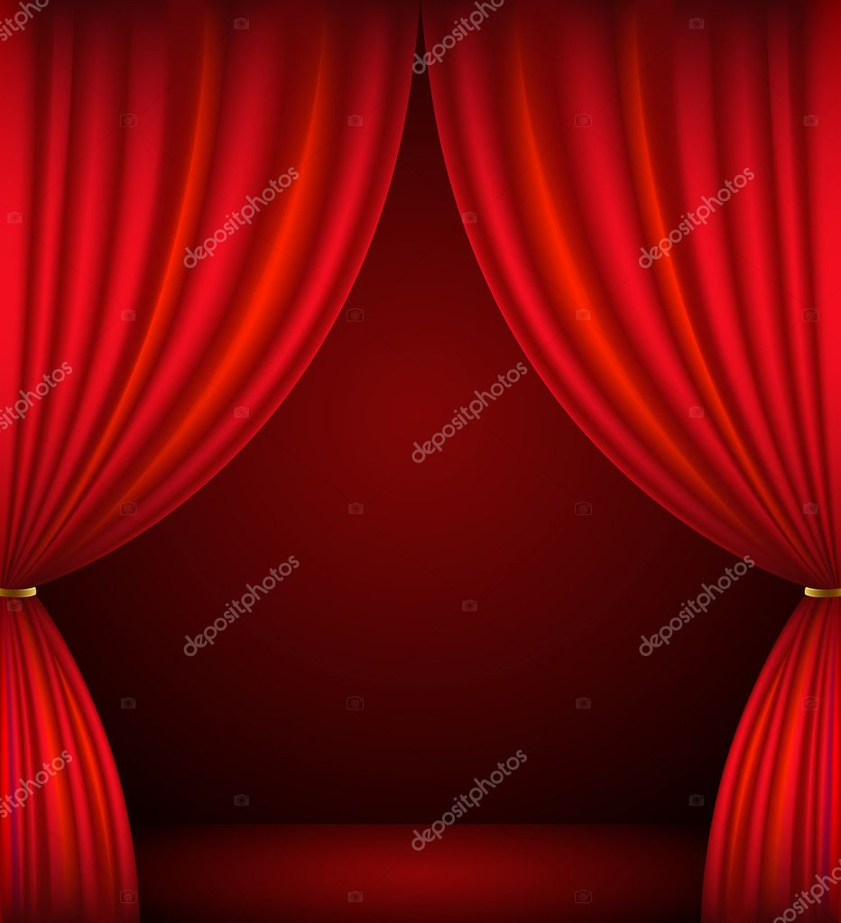 Red stage curtain with lights - Red Theater Curtain Background Stock Vector 11757763