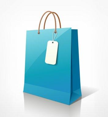 Shopping paper bag blue empty