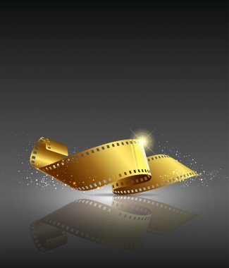 Camera film roll gold color background