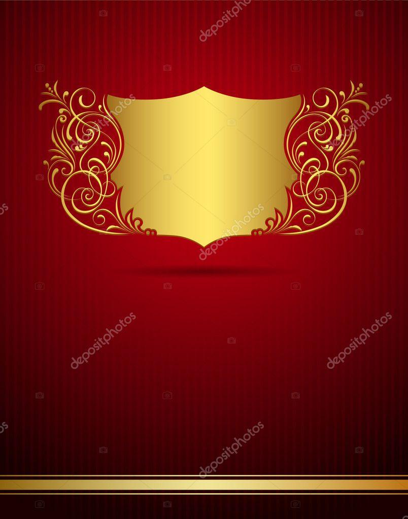 V card background images - Invitation Vintage Frame Greeting Card On Red Background Stock Vector 11760439