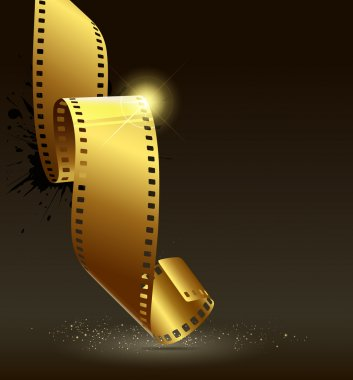 Camera film roll gold color design background