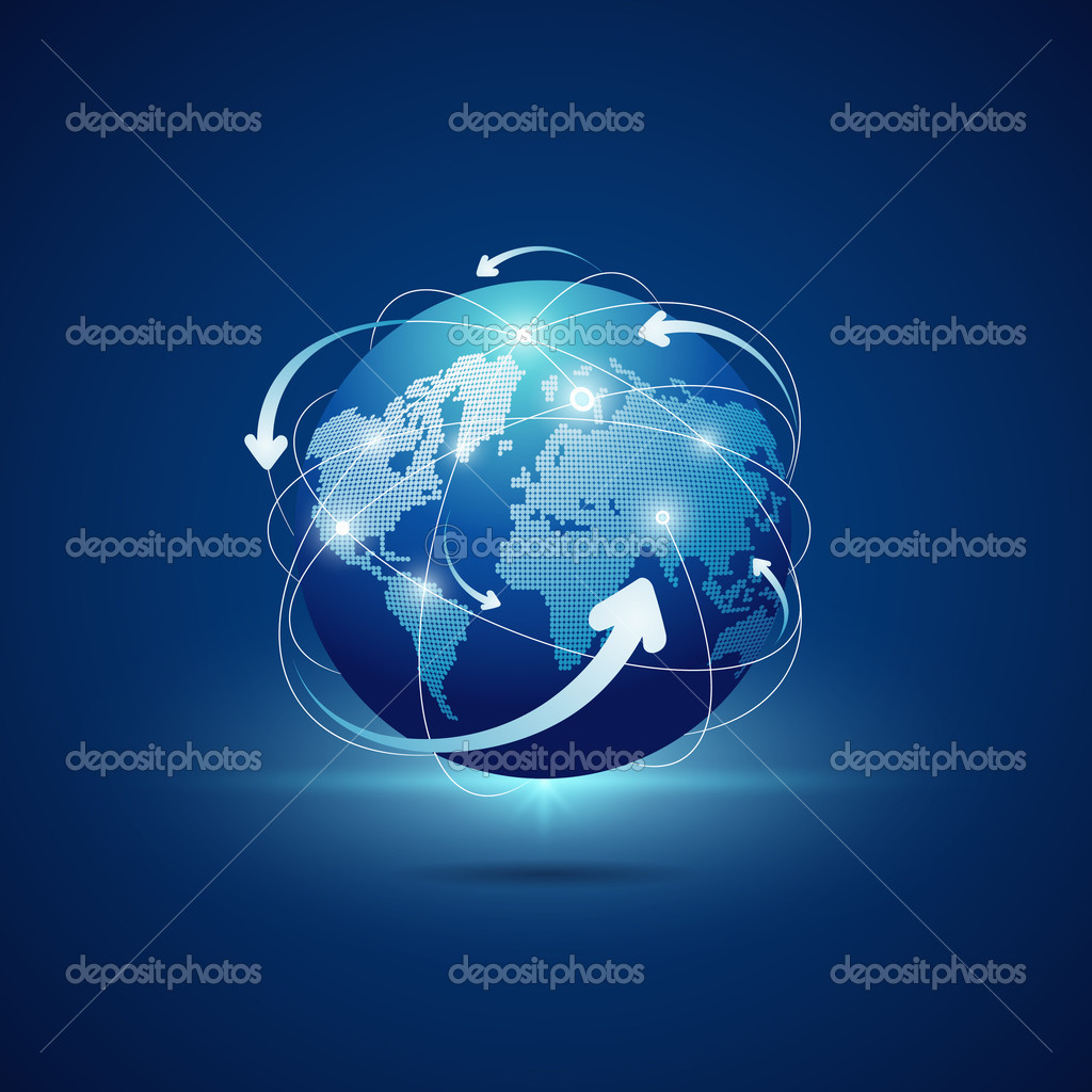 Modern globe connections network background