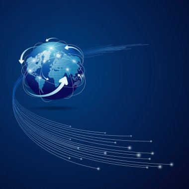 Globe network connection blue background