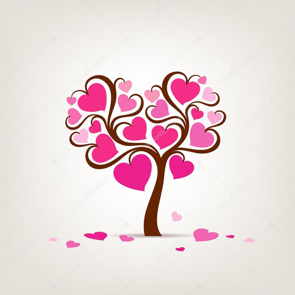 Valentine S Day Tree Pink Heart Stock Vector C Sarunyu Foto 11874226