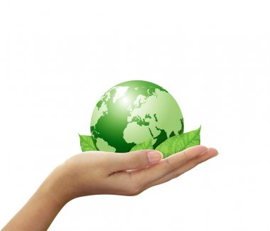 Green global and leaf in hand