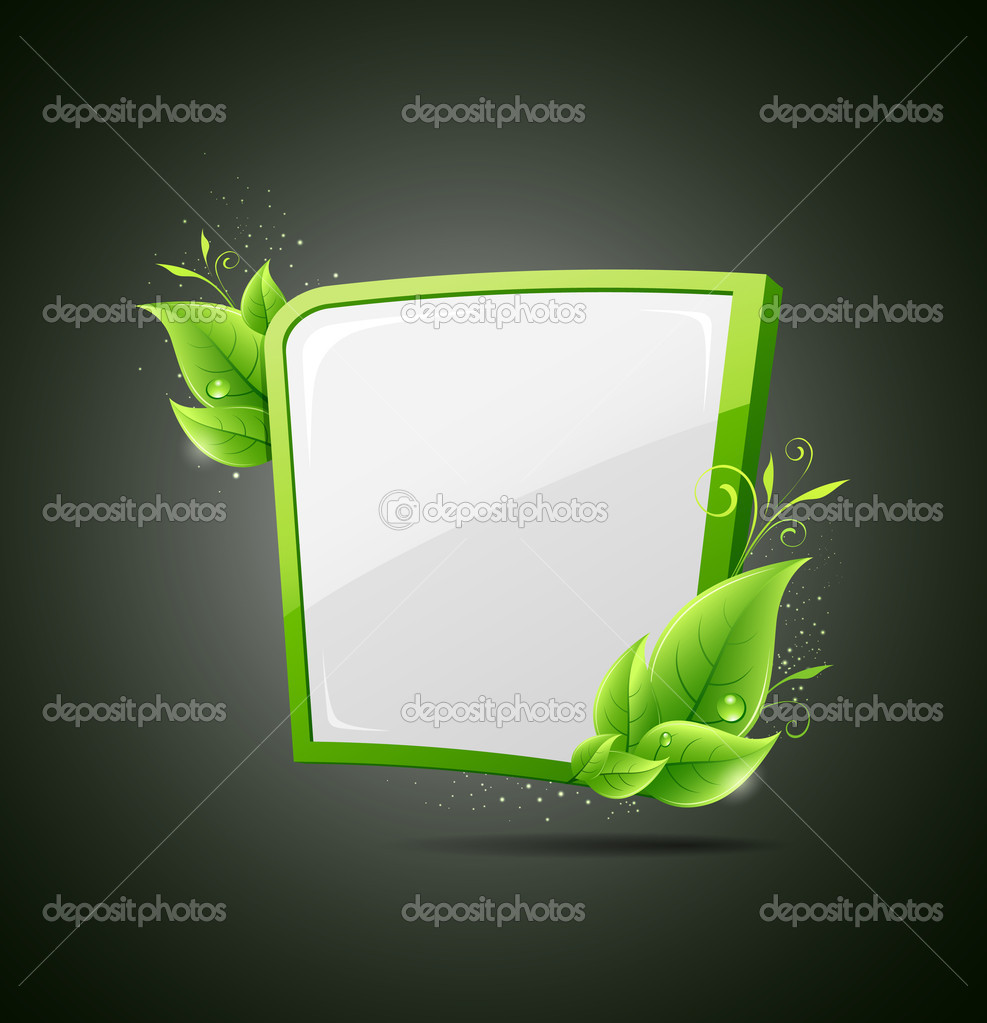 Frame green leaf ecology concepts on gray background