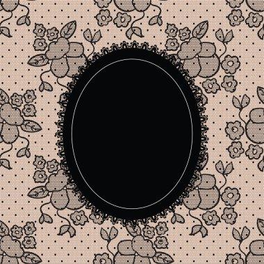 Black elegant doily on lace background